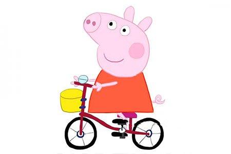 一步一步学画小猪佩奇骑自行车