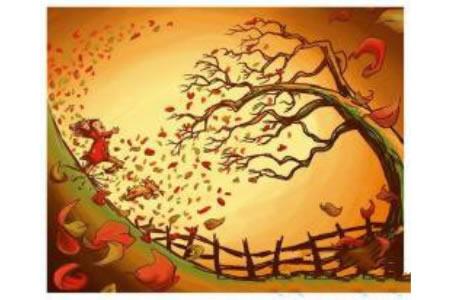 秋天的落叶水彩画图片在线欣赏
