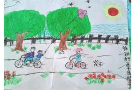 清明节主题儿童画图片:放风筝