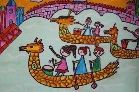 划龙舟真有趣儿童端午节图画分享