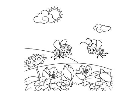 两只蜜蜂飞过一片开花的草地