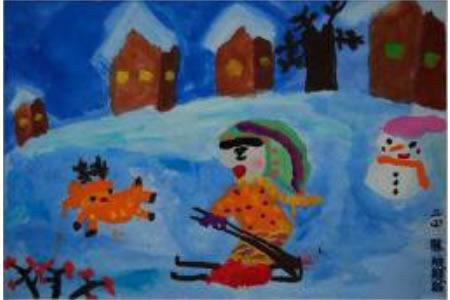 儿童画冬天的图画-快乐的冬天