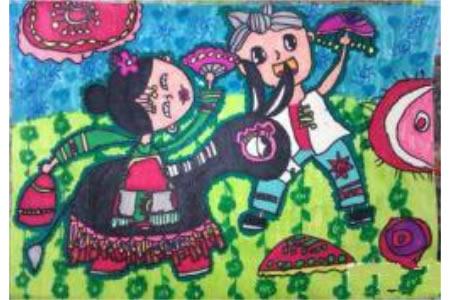庆祝中秋节儿童画-中秋唱大戏