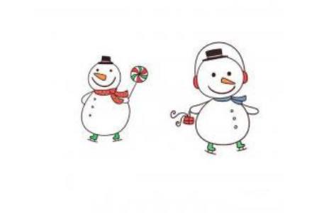 圣诞节简笔画素材 可爱的雪人