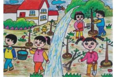 关于爱劳动儿童画-大家一起来植树