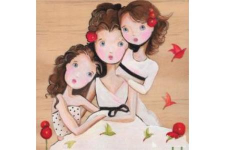 妈妈姐姐和我庆祝妇女节油画作品分享