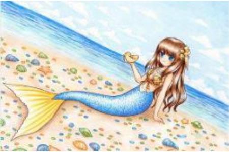 沙滩上的美人鱼水彩画作品欣赏