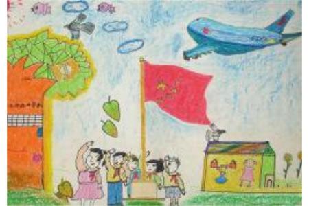 致敬祖国,国庆节儿童画作品