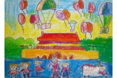 欢乐国庆节儿童画-国庆齐欢乐