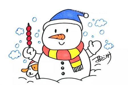圣诞节雪人简笔画图片