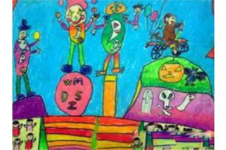 万圣节儿童画图片-欢庆万圣节