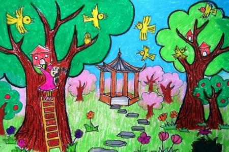 清明节踏青儿童画-为小鸟建造家园