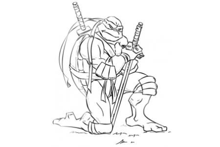 如何画忍者神龟莱昂纳多