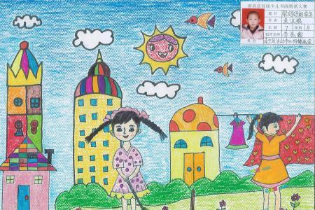 帮妈妈做家务感恩节儿童画作品