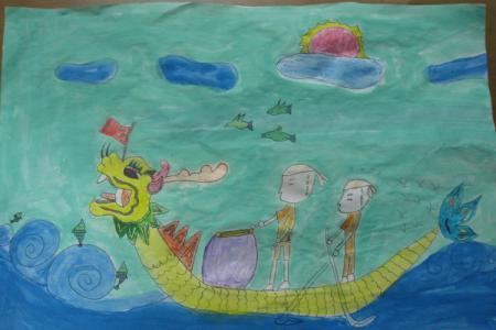 端午节龙舟儿童画-我们一起赛龙舟
