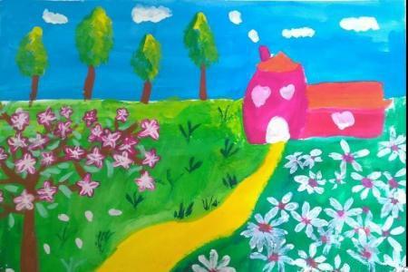 田野里的春光清明节踏青儿童画图片大全