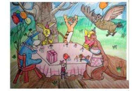 卡通人物的生日聚会彩铅画图片