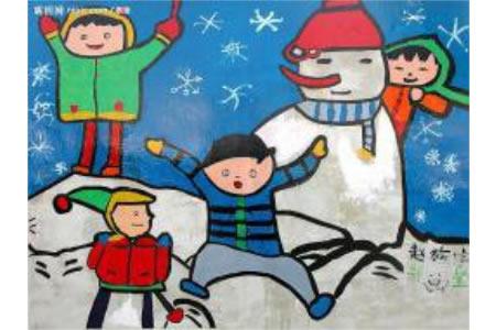 关于冬天的儿童画作品-我们在雪的世界里