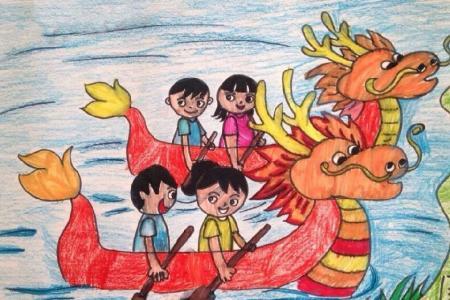 小小少年龙舟赛端午节获奖儿童画作品展