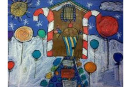 雪地里的欢乐国外水彩画在线看