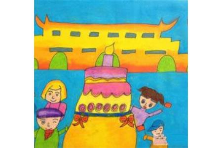 共庆祖国华诞,庆祝国庆节儿童画作品