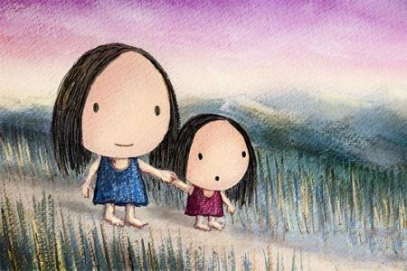 和妈妈一起去散步母亲节卡通画作品欣赏