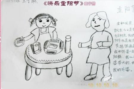儿童画重阳节的画-快乐重阳节