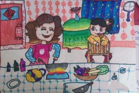关于中秋节的儿童画-中秋妈妈做美食
