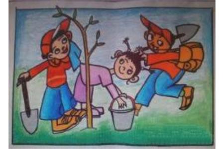 一起去种树有关植树节的画展示