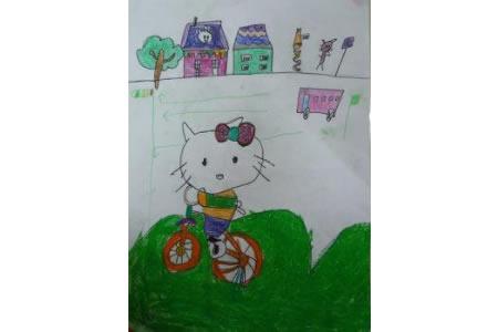 儿童漫画 kitty猫骑单车