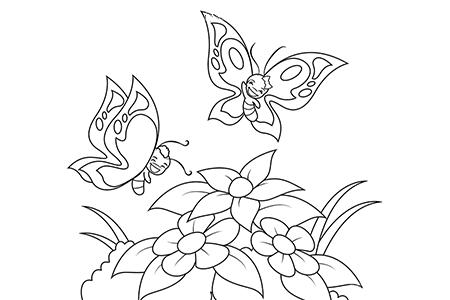 快乐蝴蝶飞过鲜花