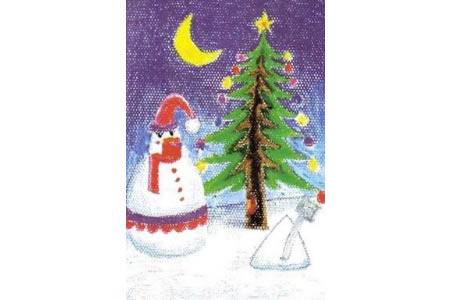 雪人与圣诞树儿童美术绘画作品大全