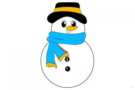 圣诞节雪人简笔画带颜色