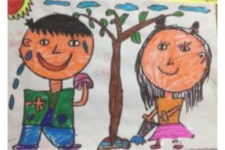 一年级植树节蜡笔画之种树的乐趣