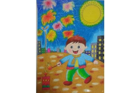 欢度中秋儿童画作品