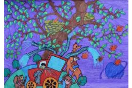9岁小朋友植树节创意画作品之智能浇水车