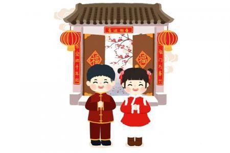 春节拜年插画图片