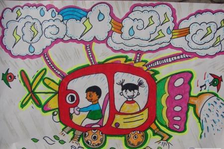 超级扫地车五一劳动节创意画作品展示
