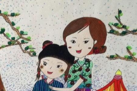 和妈妈一起去踏青五年级母亲节绘画作品分享