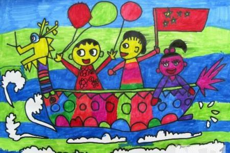 端午节儿童画图片-阳光明媚的端午