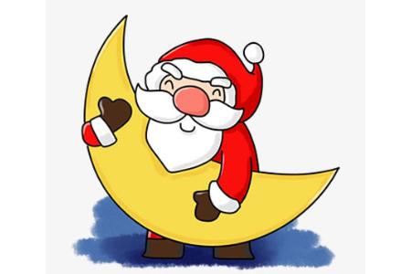 抱着月亮的圣诞老人