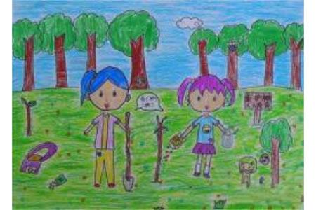 开心的植树二年级植树节绘画作品赏析