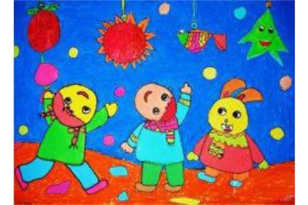 2017正月十五看花灯的儿童画