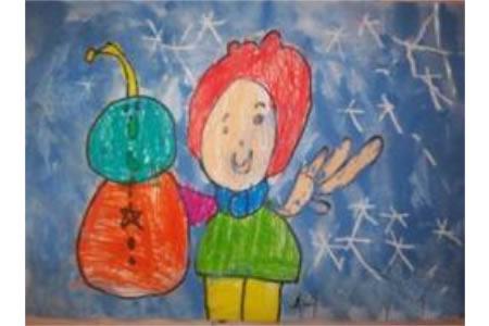 儿童画我眼中的冬天-不一样的小雪人
