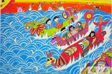 端午节赛龙舟儿童画-激情的比拼