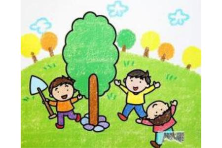 植树节少儿绘画作品之大家一起来种树
