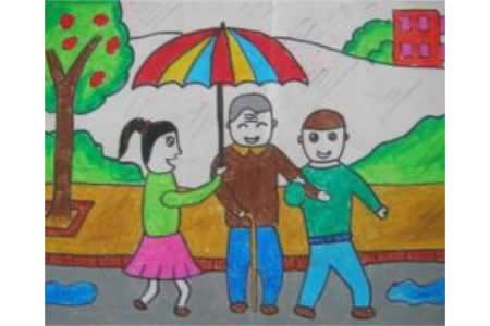 助人为乐的小朋友学雷锋日绘画图片