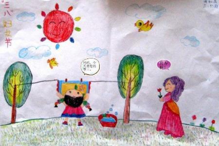 送给妈妈的礼物三八妇女节绘画图片分享