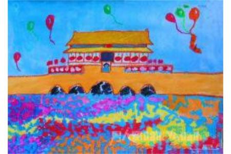 欢庆国庆节儿童画作品-为祖国欢呼