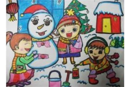 冬天的图画儿童画-我们一起堆雪人